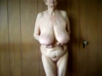 A depraved granny gave me a good private show. She demonstrated her nude body for the cam, then kneaded her big hanging tits.