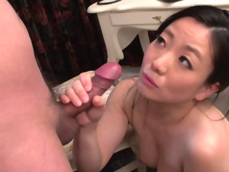 A true professional when it comes to blowing cock, a Japanese pro Shino Izumi. Lovely babe starts sucking on mushroom head cock, and strokes it hard,