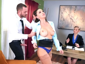During job interview, busty candidate is informed that there will be additional test on her concentration. She is approached from behind by strange gu