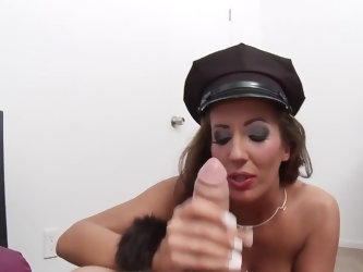 Buxom hottie organizes Halloween party during which she hooks up with guy dressed like police officer. They sneak in empty bedroom and slut begins to