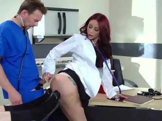 Sexy doctor is checking up patient but that doesn't stop MILF from tempting student with her buttocks. Guy understands all and starts to nail tri
