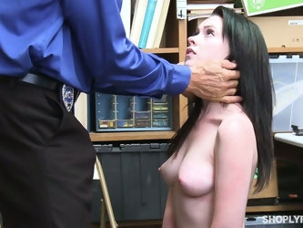 Horny cop makes Athena suck his dick after seeing her put things in her bag
