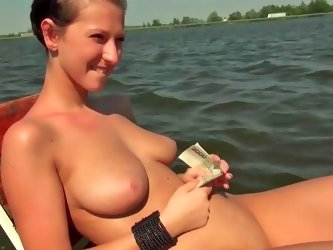 Nikol loves blowing off her gifted partner during boat trip