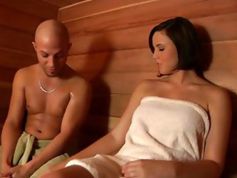 Hot Brunette Fucked In Sauna