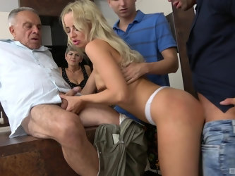 Hot ass hooker Ivana Beznoskova drops her paties for an orgy