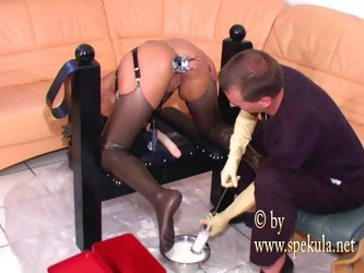 Ass filled with milk - kinky enema