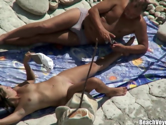 Husband Licking his wife ass & pussy at nudist beach spycam