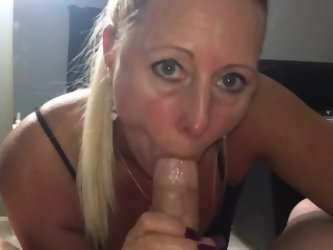Dirty blonde sucks, fucks, and creampied!