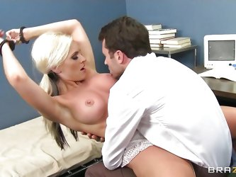 Young student is ready to do anything to improve her scores... She is handcuffed but prepared to seduce her teacher with her beautiful big tits and he