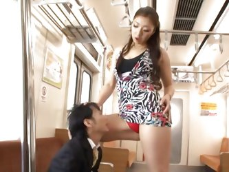 The small dude was minding his own business when this tall Nippon slut approached him. She showed the guy her red panties and what can he receive if h