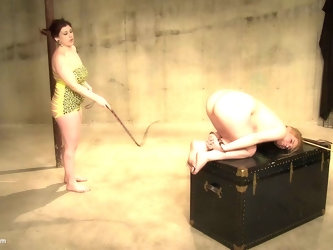Chubby lesbian mistress abuses her tied up blonde teen slave