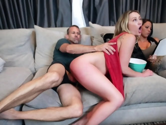The blonde babe is in her sexy red dress and the middle of cowgirl riding. Now and then, the lady will gladly taste the pussy juices off this long pie