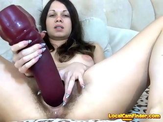 Sexy brunette fuck her tight hairy pussy use toy