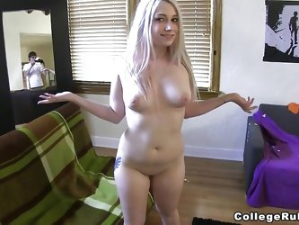 This young blonde with small tits and big ass is staying on the bed and is touching her pussy. A horny male appear and start to lick slut wet vagina.