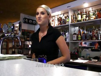 Lenka is a hot blonde bartender and agrees to go down on a horny stranger who approaches her at the bar. She gets on her knees in the back and starts