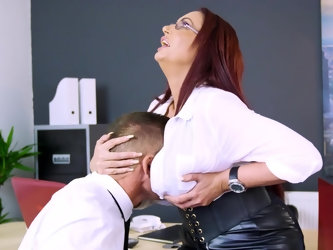 A skintight leather skirt is hard to resist and the same goes for her huge tits, so when this naughty CEO tries to seduce an employee she has an easy