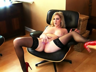 Georgie is a lusty blonde bimbo with wonderful chubby breasts