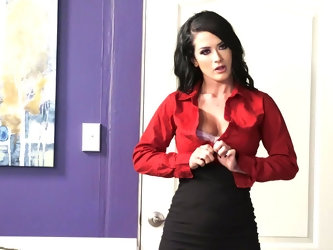 Katrina looks breathtaking in that tight black skirt and that sexy red blouse and her business partner is feeling the lust she's trying to genera