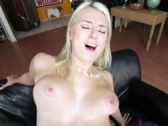 Two large boobs are bouncing up and down before us in this video.