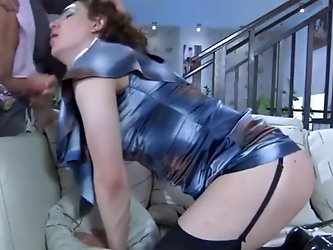 Guy and cross dresser sucking and fucking