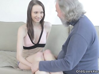 Lucky old bearded fucker sucks titties of barely legal brunette chick