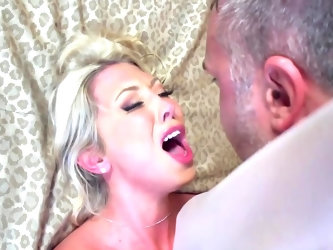 This blonde milf is getting married today, but she's not all that happy about it. She's a size-queen and before settling down with her avera