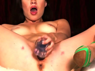 Lascivious brunette's wet cunt adores being pricked by different objects