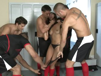 Gang bang in the lockers with Vicki Chase