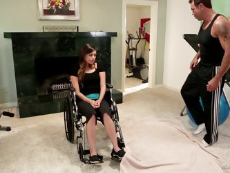 Paralyzed girl enjoys hot hardcore sex with her physical trainer
