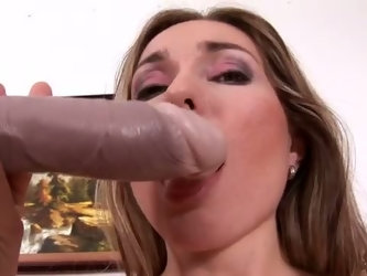 Bosomy nympho Evelina Marvellou uses lubed dildo to drill her wet pussy