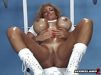 Big tits, Muscles, Huge Vibrators, Oil, Anal Beads And