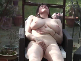Busty brunette mature buxom amateur Tigger masturbates outdoors
