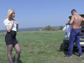 Outdoor reality missionary style fuck with blonde Alana Moon