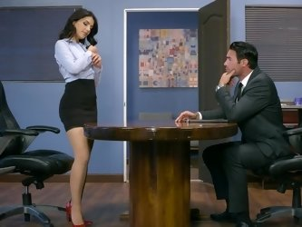 Office worker with nice tits wants boss to fuck her on the table