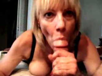 Once my girlfriend's gorgeous blonde MILF mom gave me amazing blowjob. She blew my cock like a vacuum cleaner and swallowed the gravy...