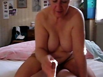 When my wife is too tired to satisfy me I ask her hot chubby mom to jack me off. Take a look at her big boobs and how she strokes my thick shaft with
