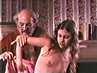 Hot tempered old dude is lucky for this ones 'cuz this sweet looking brunette allowed him to fuck her muff and jizz on her tummy.