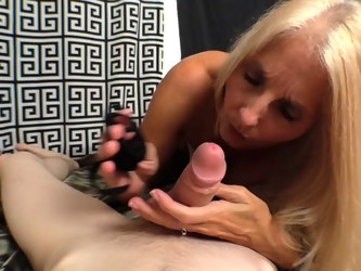 POV video of mature blonde Cherry Lee giving head and pussy