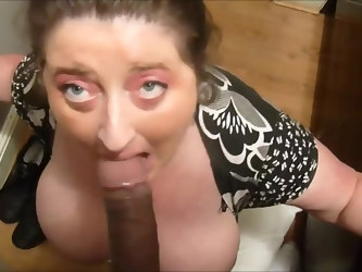 Huge tits wife sucking bbc and drink cum