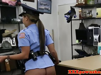 Uniformed pawnshop cop doggystyled for cash