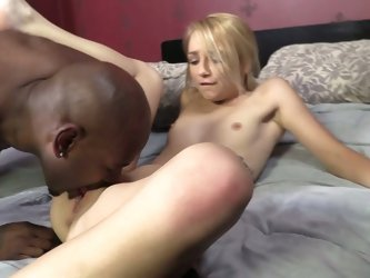 Titless blond haired whore Carmen Callaway rides monstrous black dick hard