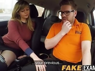 Curvy UK skank Madison Stuart banged at driving school car