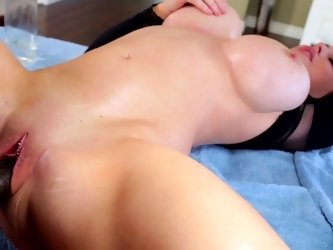 A blonde that has large tits is getting a large dick shoved into her mouth