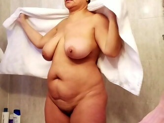 Fat wife after shower