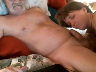Uncut mustache Daddy gets a blowjob from wife on cam
