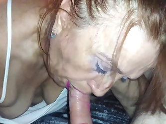 Mature friend with lipstick  on cum in mouth blowjob