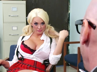 A sexy and dirty whore is getting fucked on the desk in her teachers office. She does not feel like doing any work and it is much simpler to improve h