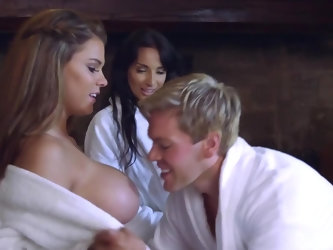 These two babes are actresses and after a hard day of shooting, they get into a hot tub and are joined by one of their male co-stars. After a little p