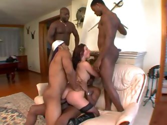 Stockings slut interracial gangbang with creampies