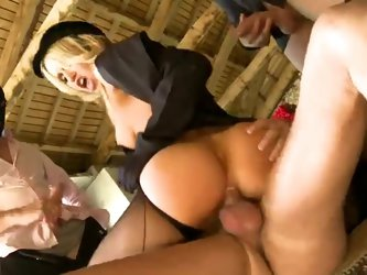An orgy with horse riding European ladies